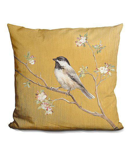 LiLiPi Danhui Nai Black Capped Chickadee on Gold Throw Pillow | zulily