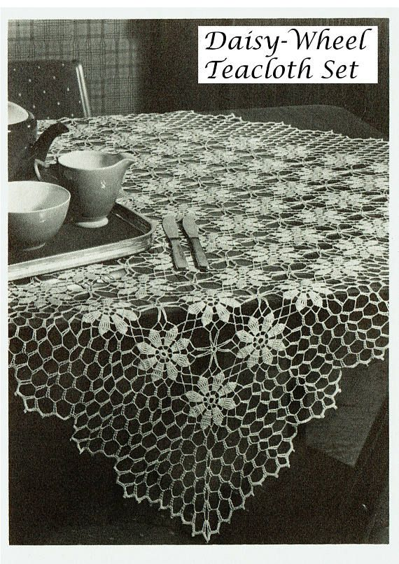 PDF Vintage  Tablecloth Crochet Pattern Heirloom Daisy-Wheel