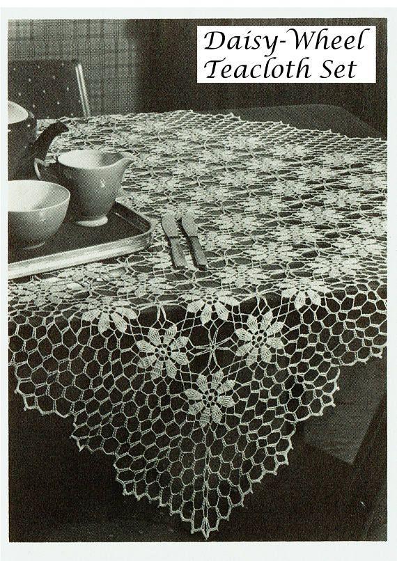 PDF Vintage  Tablecloth Crochet Pattern Heirloom Daisy-Wheel