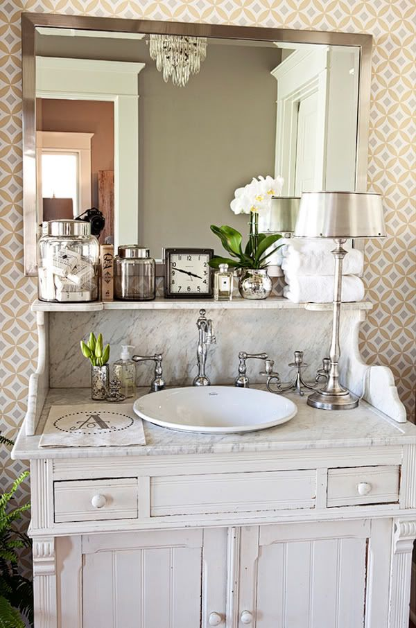 Love that just the small lip of the sink was exposed: Bathroom Design, Guest Bathroom, Old Dressers, Bathroom Vanities, Bathroom Sinks, Bathroom Ideas, Old Cabinets, Bathroom Decor, Powder Rooms