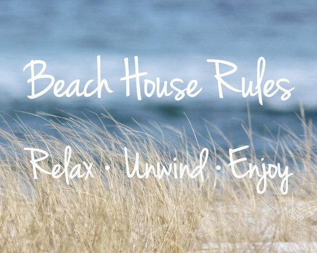 Beach Art, Coastal Canvas Wrap, Beach House Rules, Coastal Wall Art, Canvas Print, Beach Quotes, Beach Grass and Ocean Photo, Beach Decor – Joan Loomis