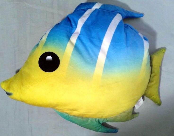 Yellow Tail FISH EMOJI FISHING Pillow Cushion 44cm SOFT TOY Smartphone FAN GIFT