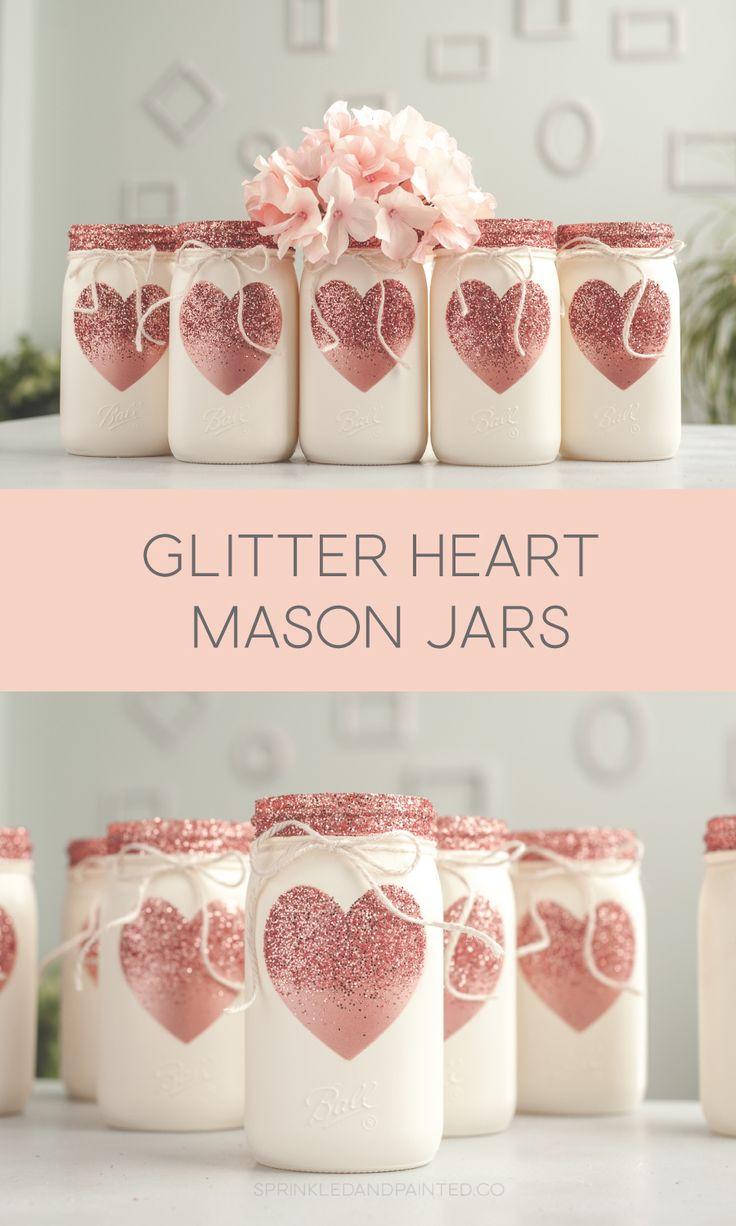 Rose Gold Glitter Heart Painted Mason Jars