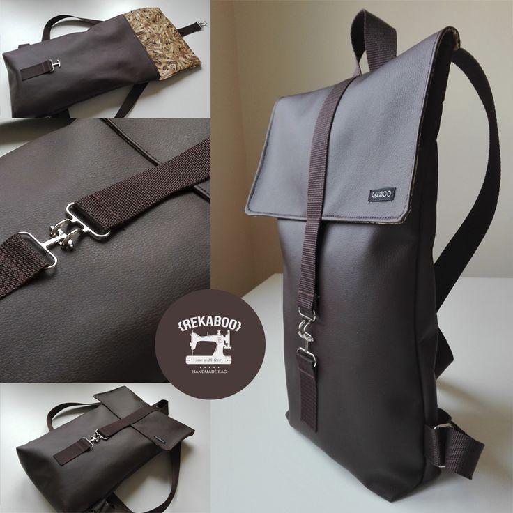 Brown Rekaboo bag for men. #handmade #bag