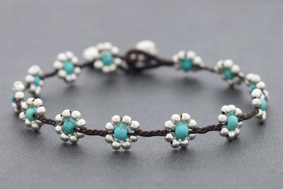 Daisy Turquoise Silver Anklet by XtraVirgin on Etsy. $8.00, via Etsy.