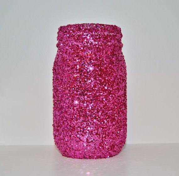Hot Pink Glitter Mason Jar Vase Holder by TheCardinalKey on Etsy, $8.00