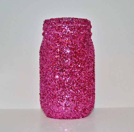 Hot Pink Glitter Mason Jar Vase Holder by TheCardinalKey on Etsy, $8.00