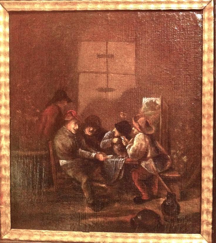 Orginal Antikes Gemälde um 1650 - 1750 Typischer Stil der Niederländischen Malerei Bauern beim Kartenspielen in einer Stube Das Gemälde ist auf Leinwand gemalt und auf eine parketierte Holzplatte aufgezogen. Es wurde keine Signatur oder Monogramm gefunden. Größe mit Rahmen 46 cm x 42 cm $1500.00