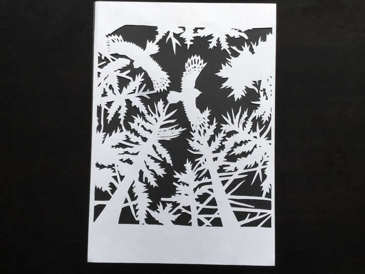 Paper cut trees and owls