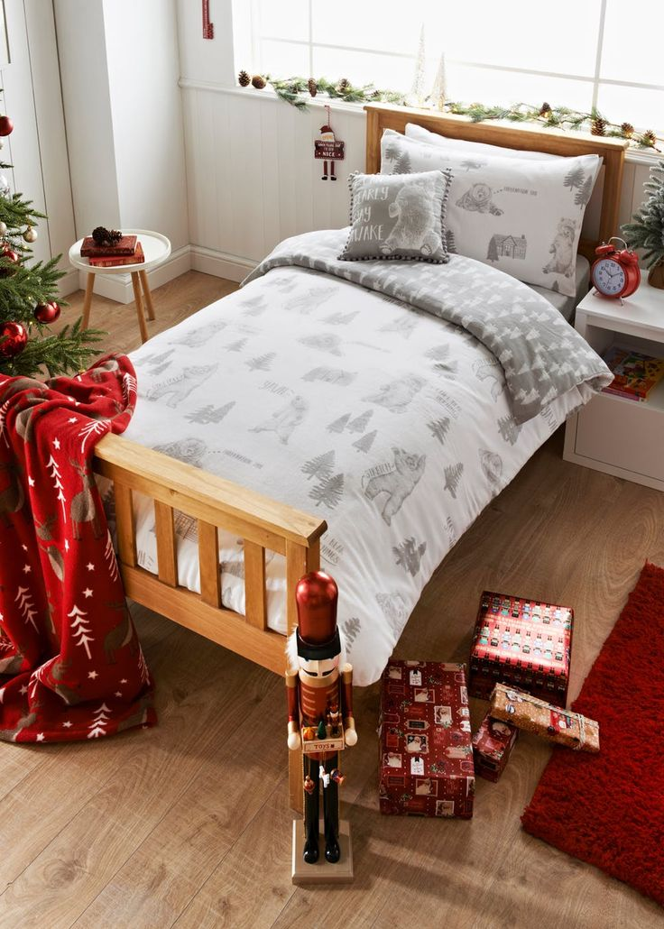 kids 100 brushed cotton bear christmas duvet cover u2013 matalan