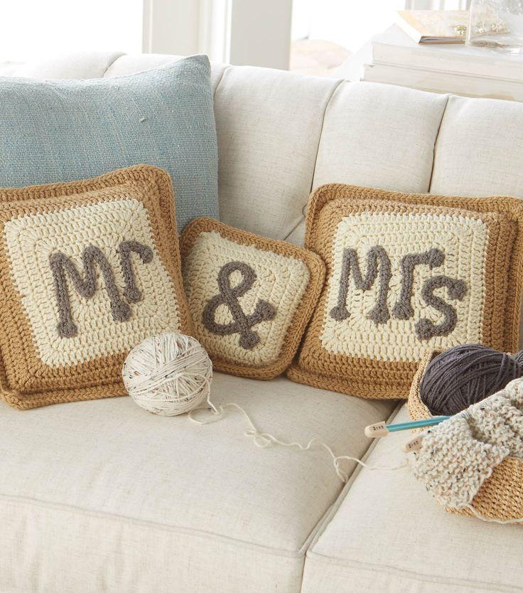 Mr. and Mrs. Pillows | Crochet Pillows | FREE Crochet Pattern from @joannstores | Wedding Gift Ideas