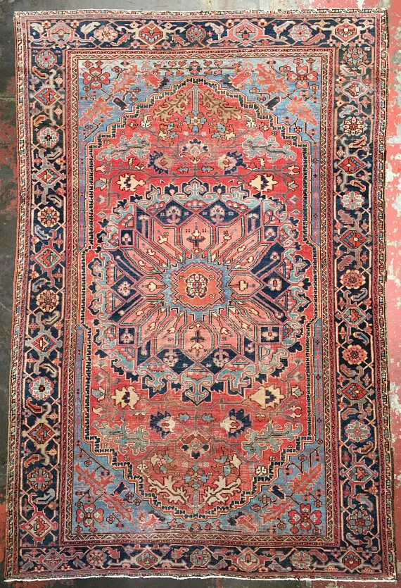 Antique Persian Heriz Rug 8 5 X 12 5 Coral Navy Blue Persian Heriz Rug Heriz Rugs Red Persian Rug