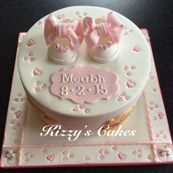 Teddies and Bootees Christening Cake - Cake by Kizzy's Cakes