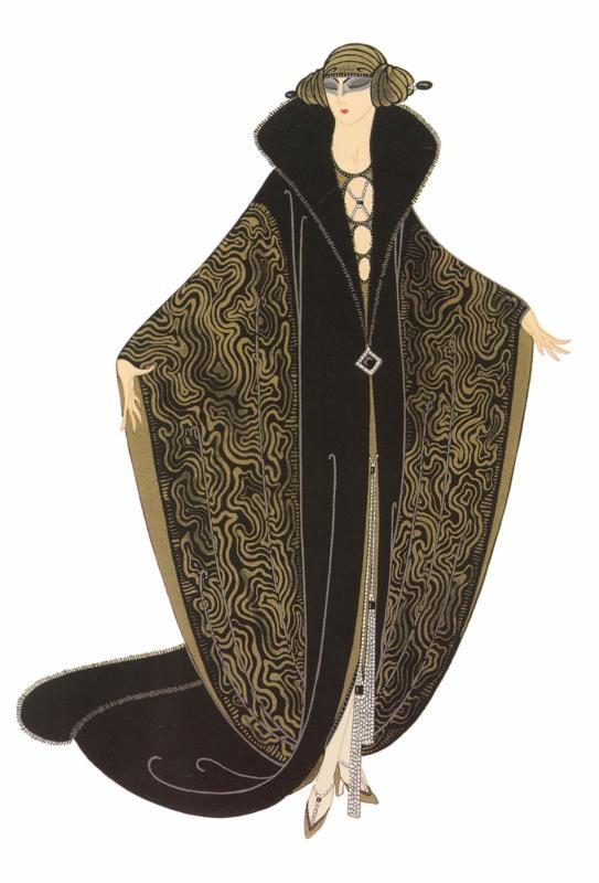 The Golden Cloak  --  Gaby Deslys Fashion - Erte