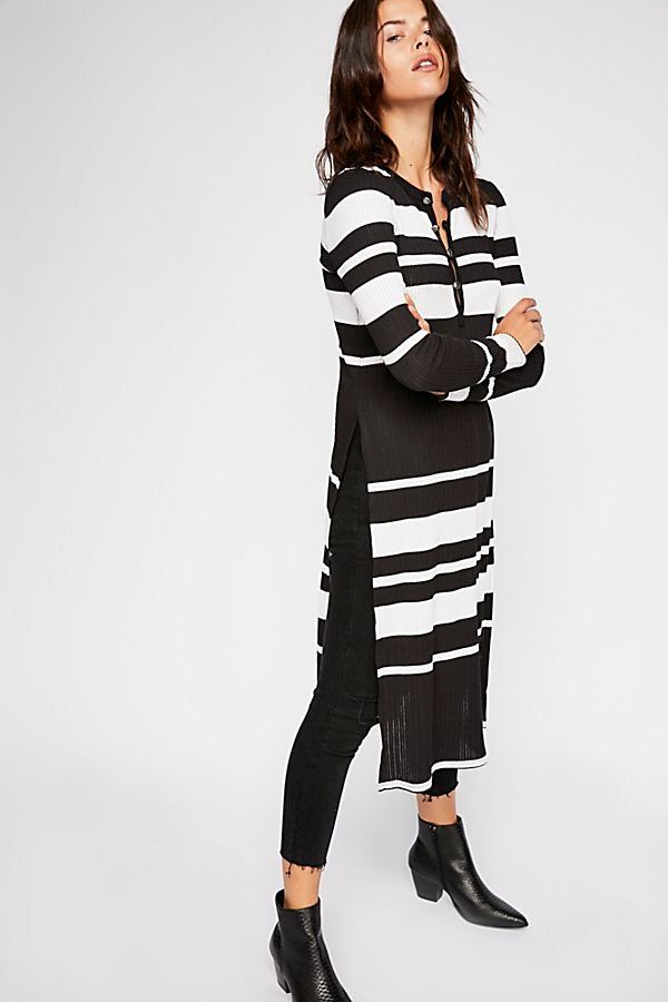f45e0c5b026 We The Free Far Out Tunic - Black Long Line Long Sleeve Tunic with White  Stripes