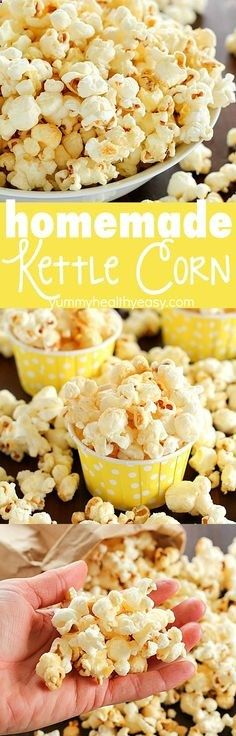 Homemade lighter Kettle Corn that tastes like you bought it at the state fair AND its totally easy to make right at home! Only a few ingredients and a few minutes and youre enjoying kettle corn in the comfort of your home for cheap! Also, dont miss the popcorn roundup with just under 30 popcorn recipes for you to try!