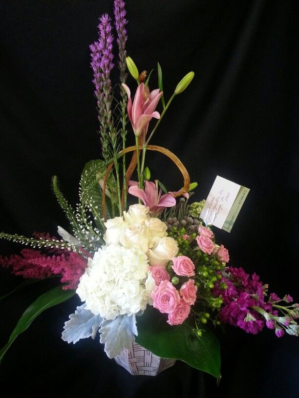 Simply southern arrangement of pinks and hydrangeas.