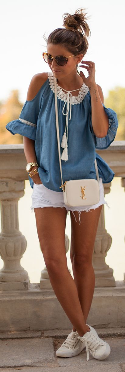 Chambray And White Casual Cool Outfit Idea by Lovely Pepa