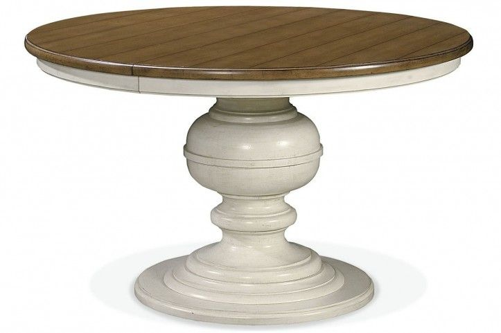 Summer Hill Cotton Single Round Pedestal Extendable Dining Table