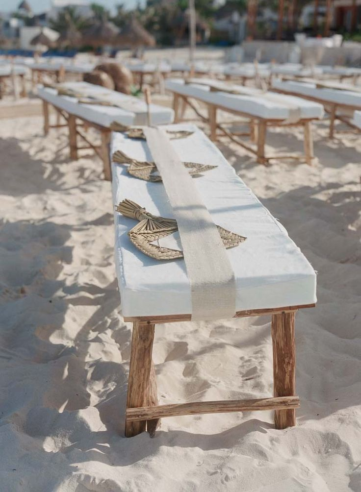 wedding bench | beach wedding | Cancun, Mexico - Lisa Vorce