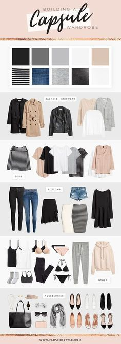 How to build a capsule wardrobe | Style essentials, minimalist outfits and closet staples | Summer, Fall, Winter, Spring | Find more style posts at http://www.flipandstyle.com