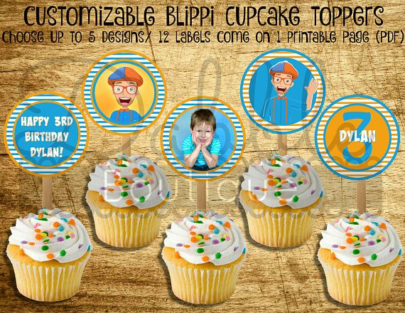 Blippi Cupcake Toppers Blippi Favor Tags Birthday