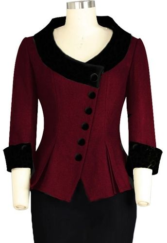 Retro Velvet Collar Jacket. Chic Star Design by Amber Middaugh