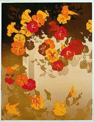 It is a very traditional Japanese design by Oscar Droege of  Morning Glories. This style and design is used in Japanese Ukiyo-E and also in traditional yukata (summer kimono) fabric dying and design. The colors here are very different from traditional Japanese design.