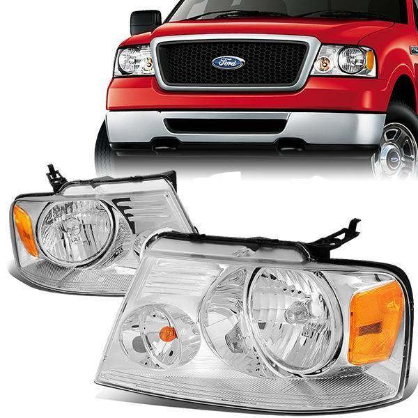 04 08 Ford F150 Lincoln Mark Lt Headlights Chrome Housing Amber Corner In 2020 Lincoln Mark Lt Ford F150 F150