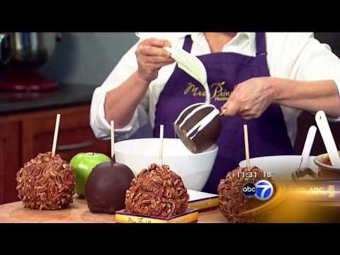 Mrs. Prindables with the Hungry Hound on ABC7 News - YouTube: how to Stripe Triple Chocolate Candy Apples