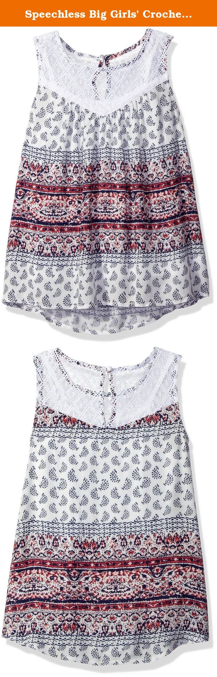 Speechless Big Girls' Crochet/Gauze Top, Ivory/Red, Medium. Two piece top sleeveless baby doll top with a crochet trim at the neck and cami.