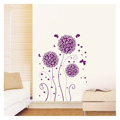 Purple Ball-flower Adhesive Decorative Decors Paper Wall Sticker Wall Decal Mural Living Room Decors