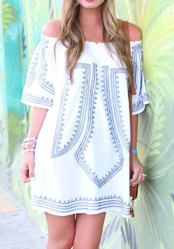 White Print Bandeau Cotton Blend Mini Dress - Mini Dresses - Dresses