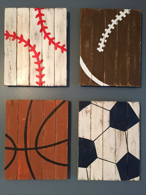 Sports Decor Baby Boy Nursery Rustic Distressed Wood Baseball Football Boys Room Home