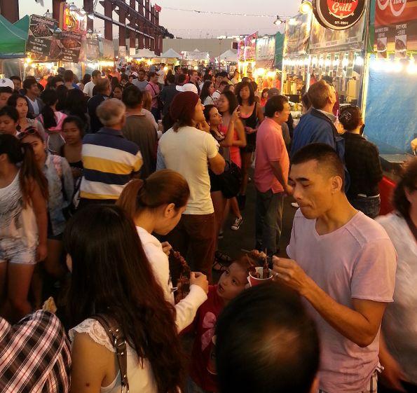 Crowd at International Summer Night Market, Richmond, British Columbia.