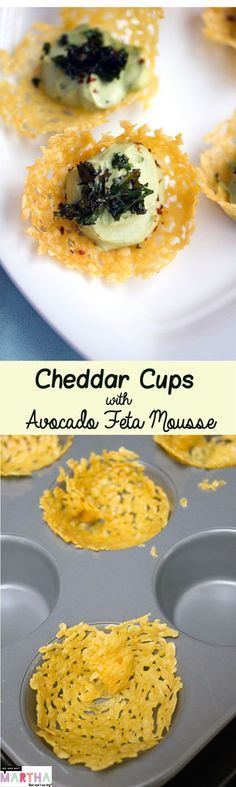 Cheddar Cups with Avocado Feta Mousse -- A fun and flavorful party appetizer   wearenotmartha.com