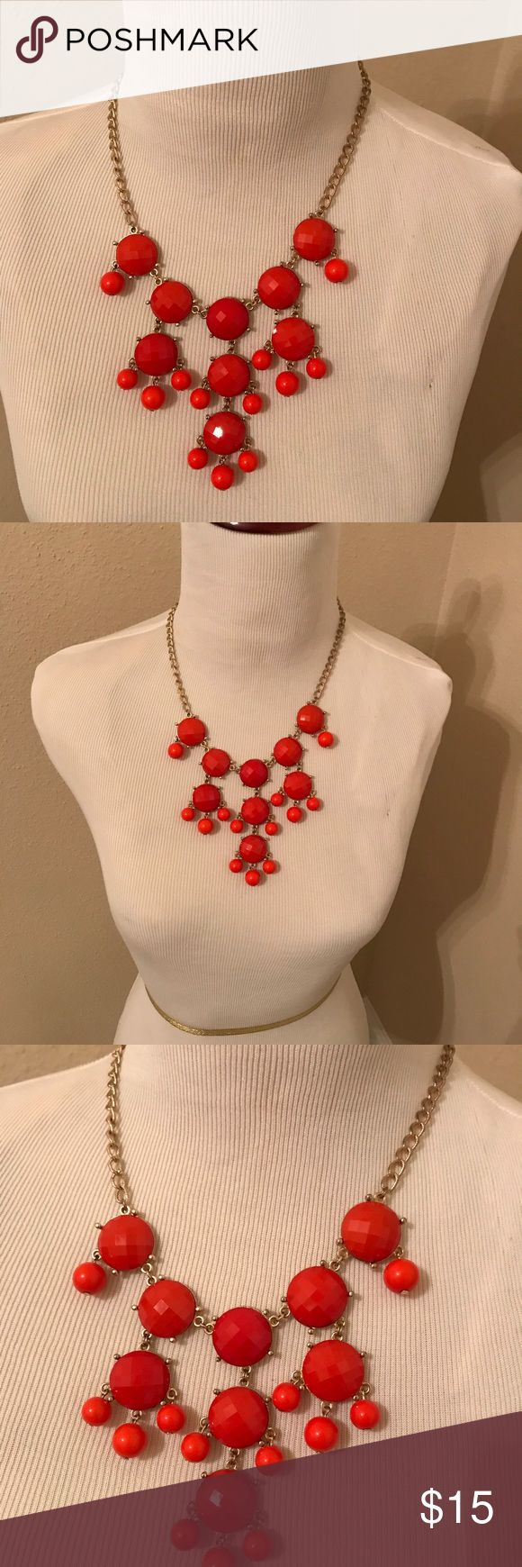 Statement bubble necklace Red orange bubble statement necklace barely worn! Would make a great piece to dress up any top or dress. Jewelry Necklaces