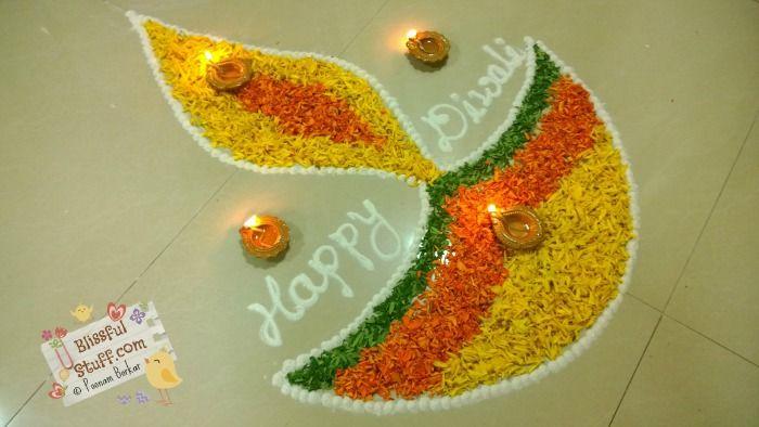 Diwali Special – Diya Rangoli Design with marigold flowers, How to make rangoli with flowers-V