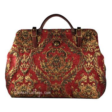 Victorian Style Carpet Bag/Travel Bag - Red and Gold