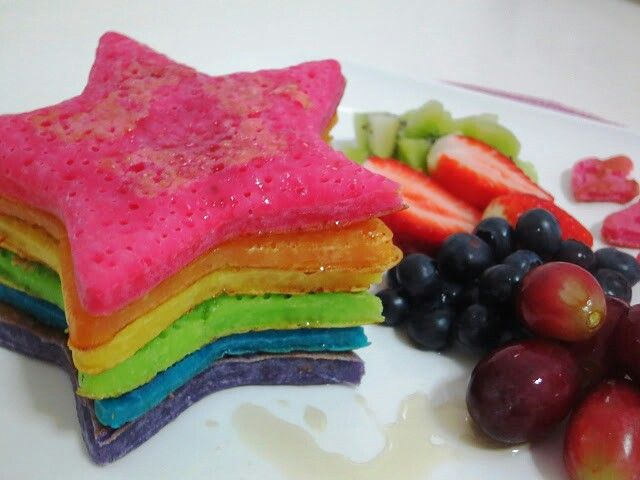 Rainbow pancakes.. yummo