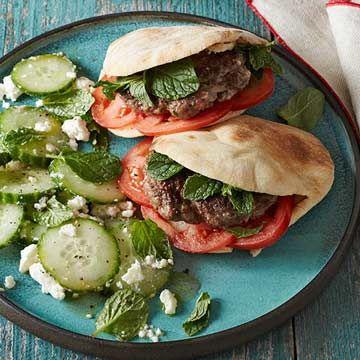 Mini Gyro Burgers with Cucumber-Feta Salad - FamilyCircle.com