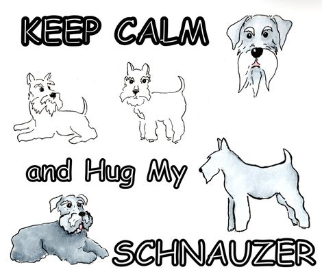 KEEP CALM hug my schnauzer fabric by forestwooddesigns on Spoonflower - custom fabric http://www.spoonflower.com/designs/5208404-keepcalm-hug-schnauzer-by-forestwooddesigns