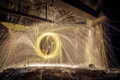 Steel wool photo under a bridge
