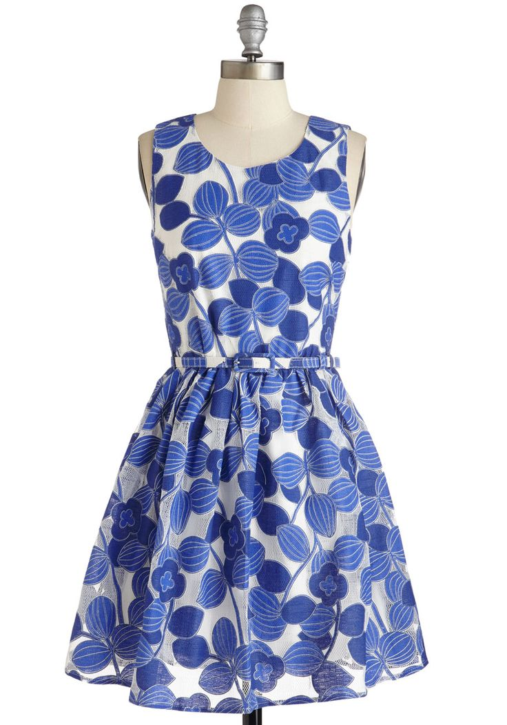 Applause of Attraction Dress by Yumi - Mid-length, Woven, Blue, White, Floral, Print, Daytime Party, Fit & Flare, Sleeveless, Best, Belted, Scoop