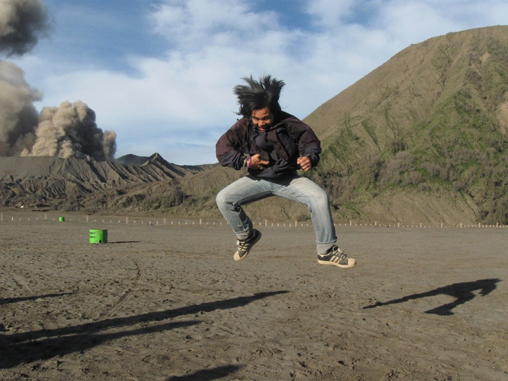 jump!! Bromo savana, east java, Indonesia