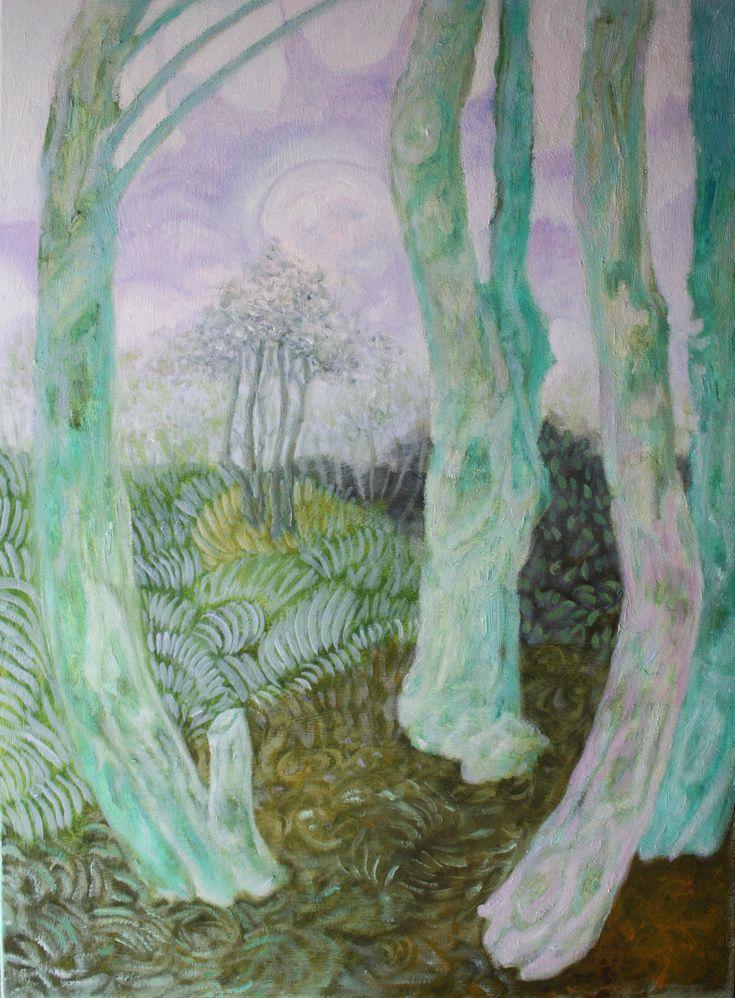 Obraz olejny Wiosna, olej na płótnie, 70 x 50 cm.  Pejzaż z turkusowymi drzewami i dużym, lecz nieśmiałym wiosennym słońcem.  Przed wysyłką zostanie zabezpieczony werniksem o satynowym połysku.