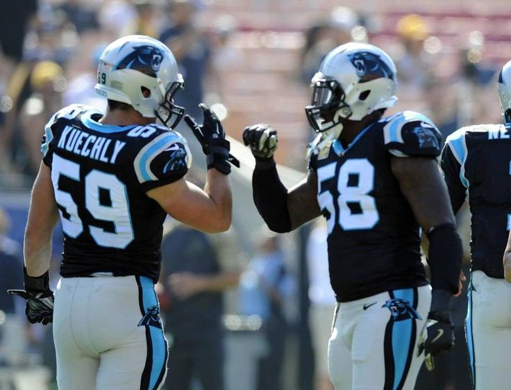 Panthers vs. Rams:  13-10, Panthers  -     Carolina Panthers middle linebacker Luke Kuechly (59) and outside linebacker Thomas Davis (58) greet each other during warmups prior to playing the Los Angeles Rams at Los Angeles Memorial Coliseum in Los Angeles, CA on Sunday, November 6, 2016.
