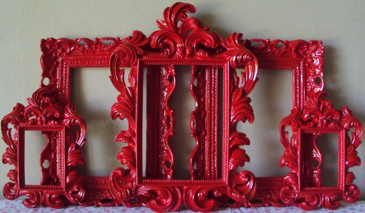 5 ANY COLOR Picture Frames Cottage 5 Open Frames Wall Gallery Cherry Red Frames Baroque Wedding Home Decor Kitch Colorful. $199.00, via Etsy.