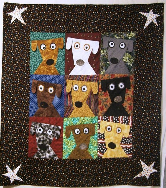 """""""...the second auction quilt I made for this weekend supporting Warrior Canine Connection.""""  -- Melissa Dawson   (note:  Melissa posted this darling wall hanging on July 23.   We hope that the auction went well.   It's just a cute and happy-making piece!) FB page 24 Blocks"""