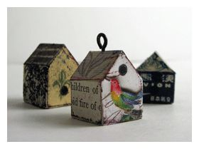Cate Prato's birdhouse collage pendants: An Easy Mixed-Media Jewelry Project